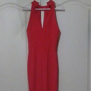 A red V-neck dress